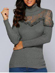 Concise Ruffle Lace Splice Close-Fitting Knitwear