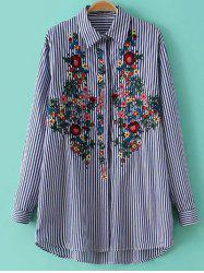 Striped Floral Embroidered Button Up Shirt