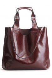Leather Buckles Embellished Tote Bag