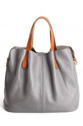 Textured Leather Stitching Tote Bag -
