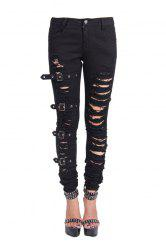 Ripped Skinny Denim Pants -