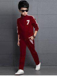 Striped Number T-Shirt + Stand Collar Jacket + Pants -