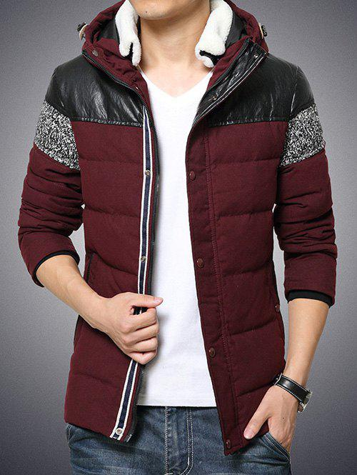 Online Plus Size Hooded PU-Leather Splicing Zip-Up Cotton-Padded Jacket