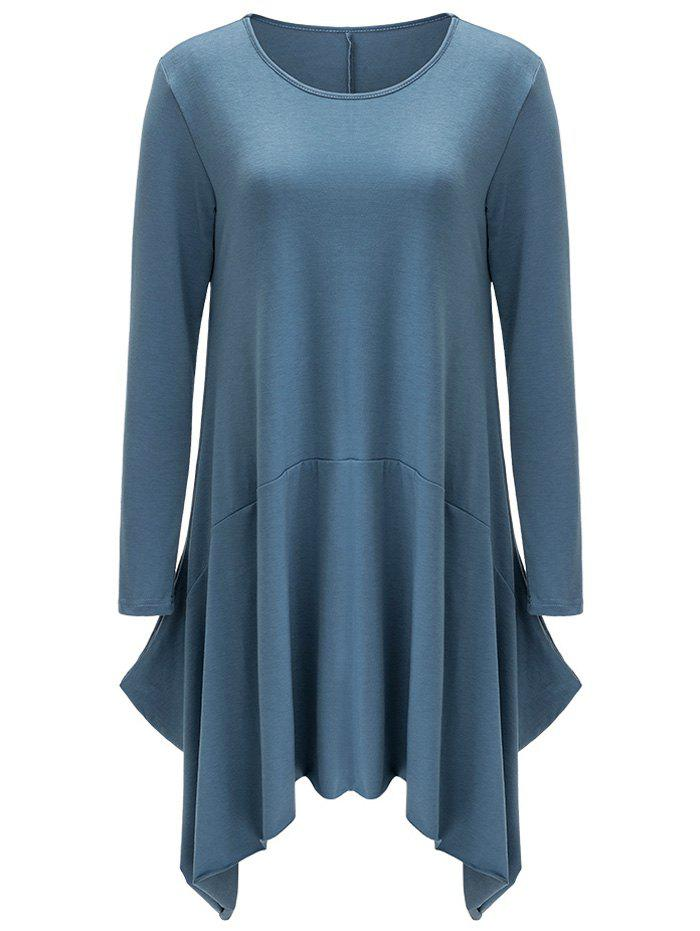 Asymmetrical Long Sleeve Dress - Blue Gray L