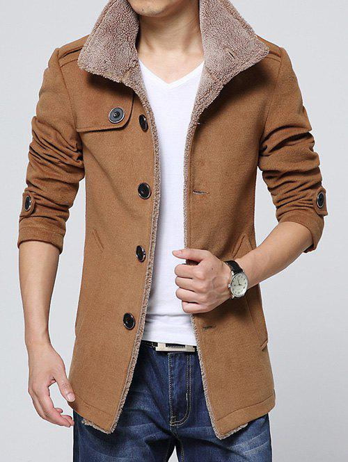 Best Epaulet Embellished Single-Breasted Turn-Down Collar Fleece Coat