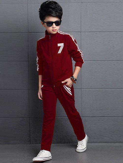 Outfits Striped Number T-Shirt + Stand Collar Jacket + Pants