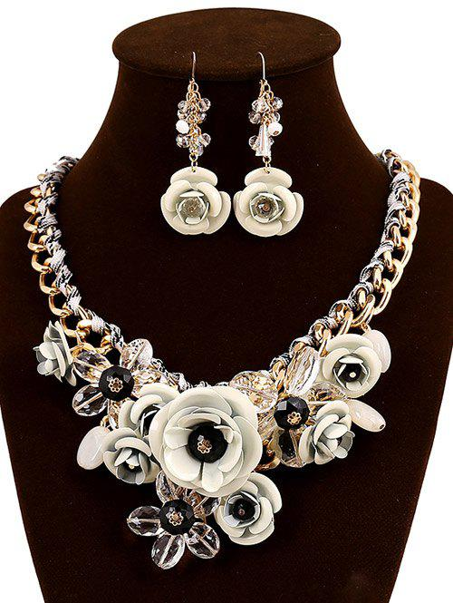 White faux crystal flower statement jewelry set rosegal latest faux crystal flower statement jewelry set mightylinksfo