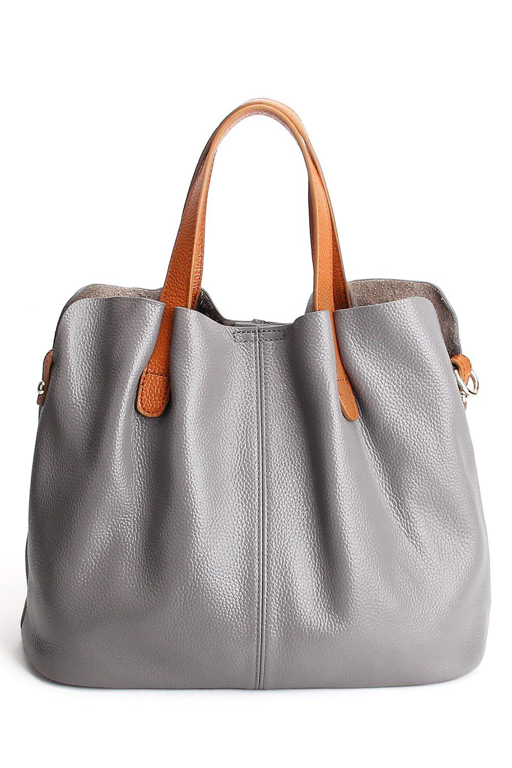 Hot Textured Leather Stitching Tote Bag