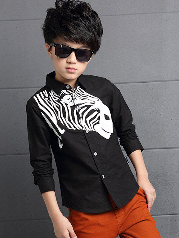 Discount Long Sleeve Zebra Printed Shirt