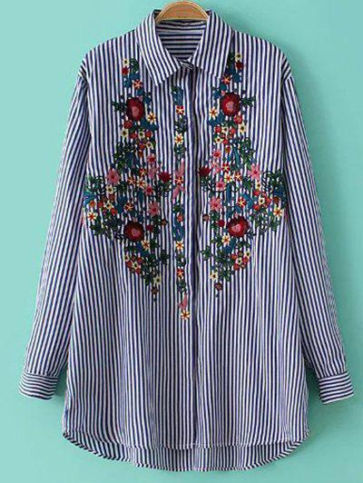 Sale Striped Floral Embroidered Button Up Shirt