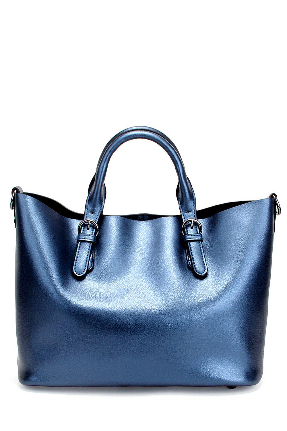 Affordable Leather Buckles Tote Bag