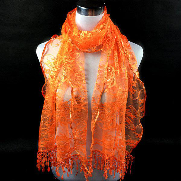 Dentelle Tassel Lace Floral ScarfACCESSORIES<br><br>Color: DARKSALMON; Scarf Type: Scarf; Group: Adult; Gender: For Women; Style: Fashion; Material: Polyester; Season: Fall,Spring,Summer; Scarf Length: 180CM; Scarf Width (CM): 48CM; Weight: 0.100kg; Package Contents: 1 x Scarf;