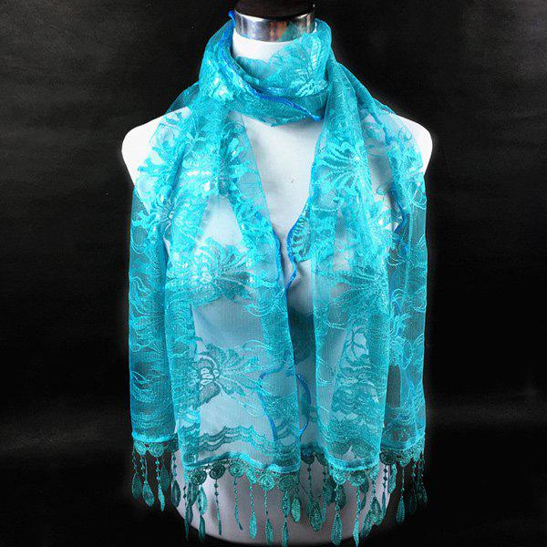 Dentelle Flower Feather Fringe Lace ScarfACCESSORIES<br><br>Color: LAKE BLUE; Scarf Type: Scarf; Group: Adult; Gender: For Women; Style: Fashion; Material: Polyester; Season: Fall,Spring,Summer; Scarf Length: 180CM; Scarf Width (CM): 48CM; Weight: 0.100kg; Package Contents: 1 x Scarf;