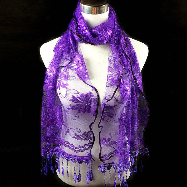 Dentelle Flower Feather Fringe Lace ScarfACCESSORIES<br><br>Color: PURPLE; Scarf Type: Scarf; Group: Adult; Gender: For Women; Style: Fashion; Material: Polyester; Season: Fall,Spring,Summer; Scarf Length: 180CM; Scarf Width (CM): 48CM; Weight: 0.100kg; Package Contents: 1 x Scarf;