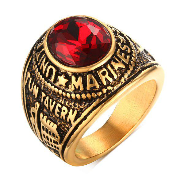 Faux Ruby alliage Oval Ring Forme