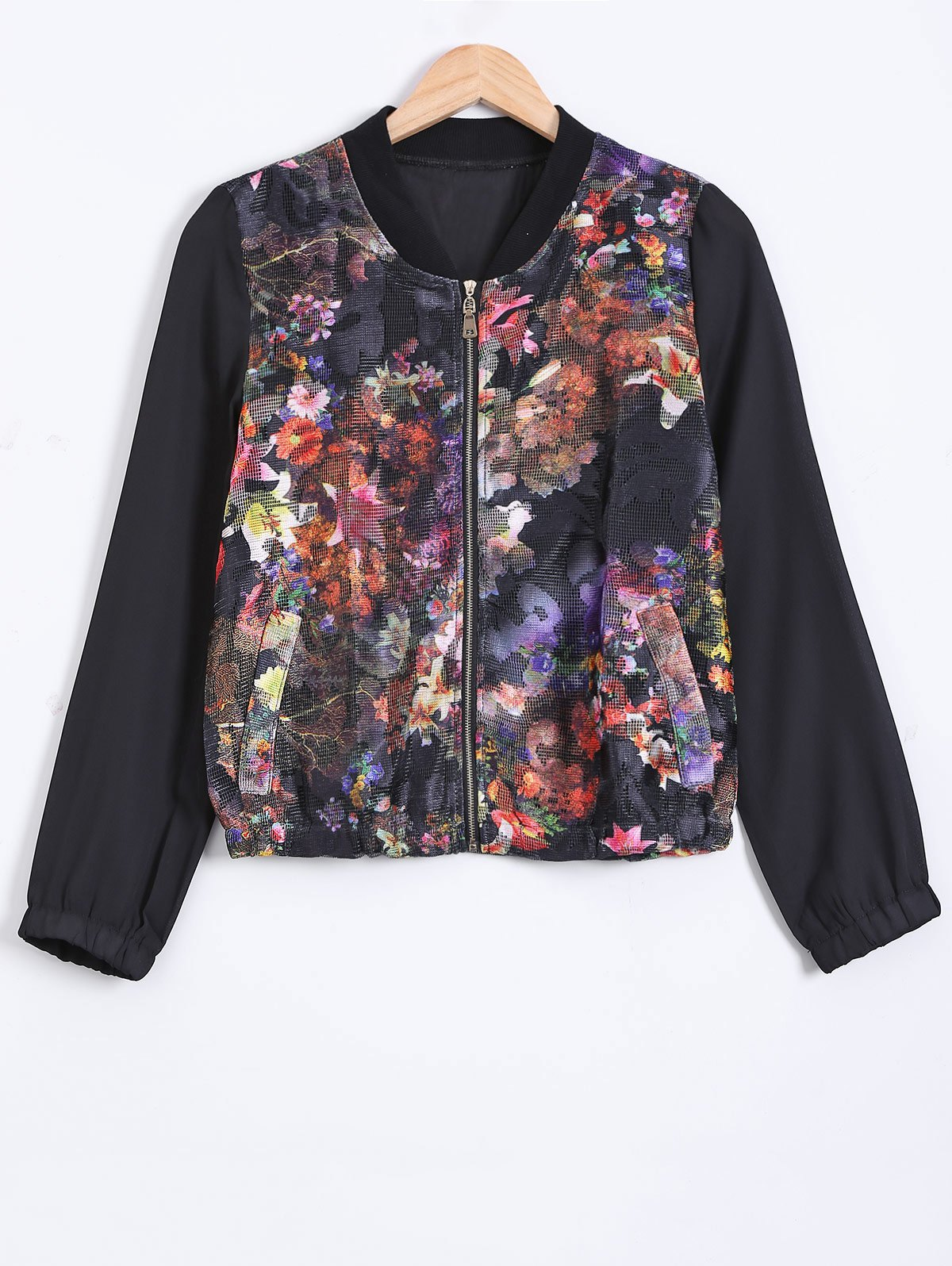New Stand Collar Floral Zipped Jacket