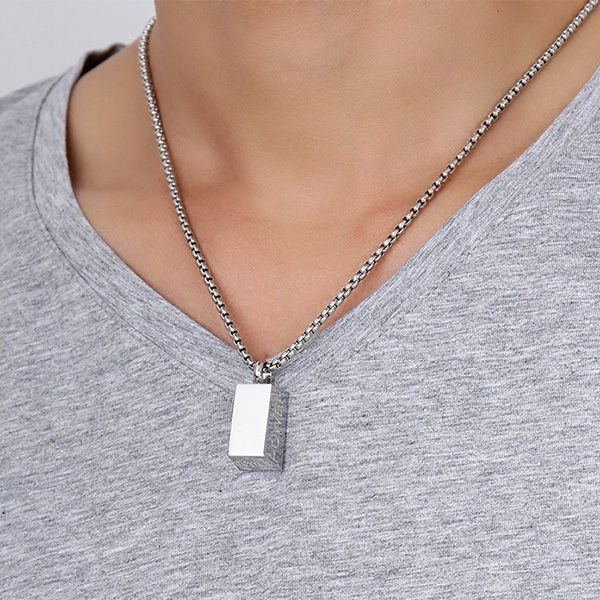 Polished Stainless Steel Brick Letters NecklaceJEWELRY<br><br>Color: SILVER; Item Type: Pendant Necklace; Gender: For Men; Necklace Type: Link Chain; Metal Type: Stainless Steel; Style: Trendy; Shape/Pattern: Geometric; Weight: 0.030kg; Package Contents: 1 x Necklace;