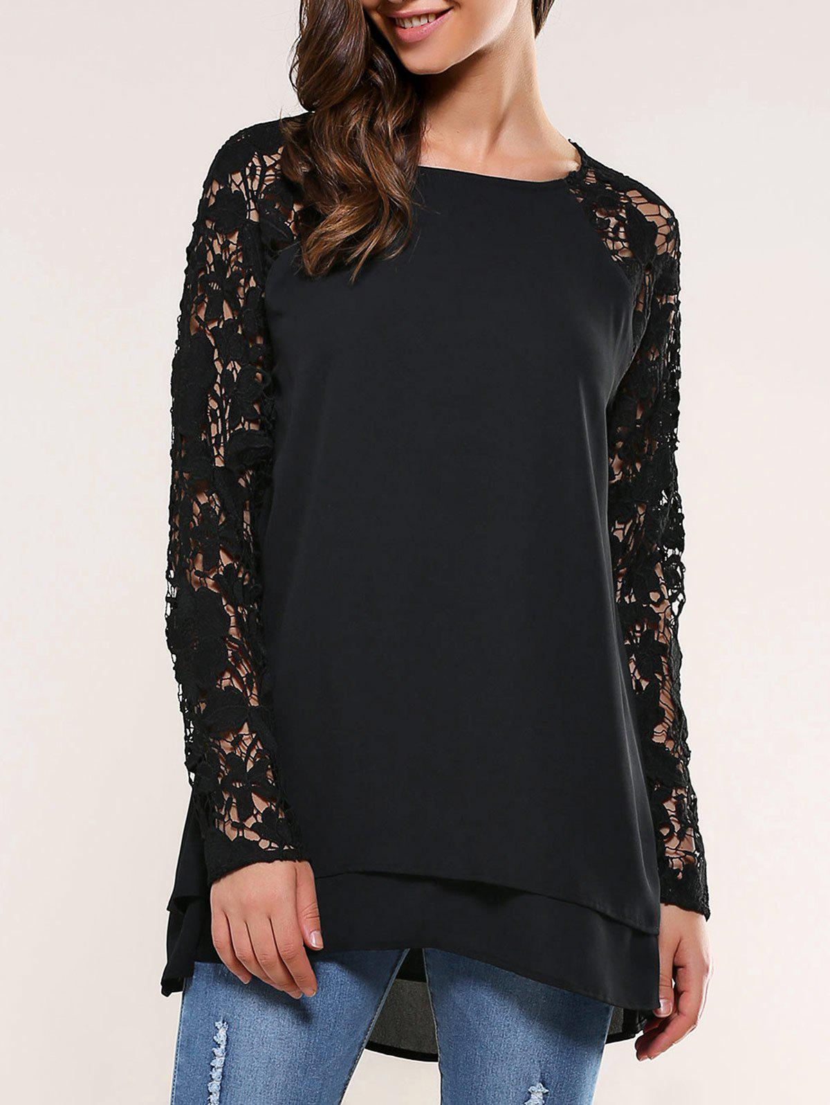 Lace Splicing BlouseWOMEN<br><br>Size: XL; Color: BLACK; Style: Casual; Material: Polyester; Shirt Length: Long; Sleeve Length: Full; Collar: Round Neck; Pattern Type: Floral; Season: Fall,Spring; Weight: 0.350kg; Package Contents: 1 x Blouse;