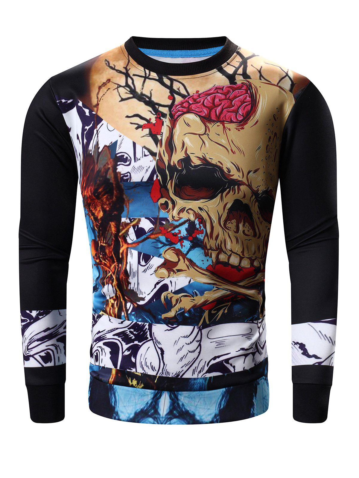 Affordable Round Neck Abstract Skull Print Long Sleeve Sweatshirt