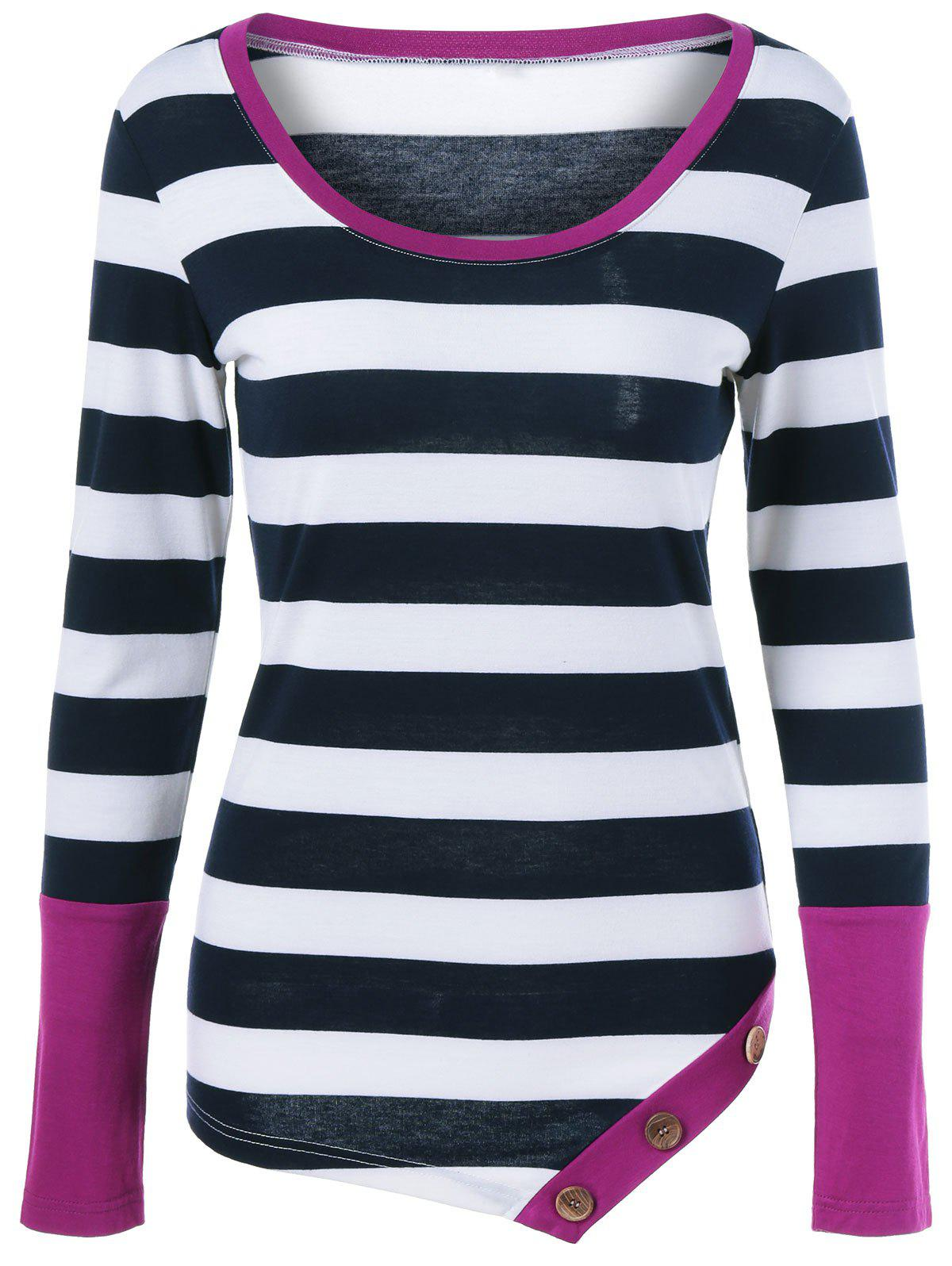Best Button Embellished Asymmetric Long Sleeve Striped T-Shirt