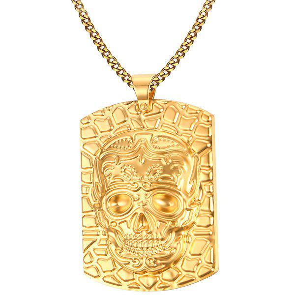 Affordable Embossed Skull Pendant Necklace