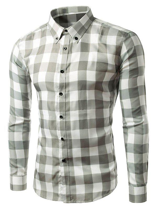 Latest Slim Fit Long Sleeve Grid Button-Down Shirt