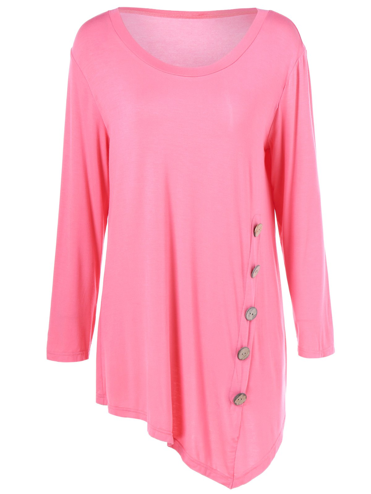 Discount Plus Size Inclined Buttoned Blouse