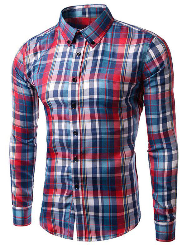 Affordable Turn-down Collar Long Sleeve Plaid Shirt
