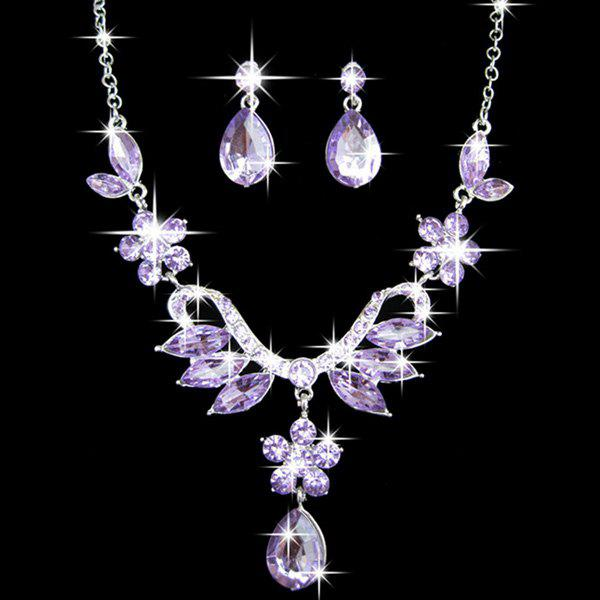 Store A Suit of Faux Crystal Necklace and Earrings
