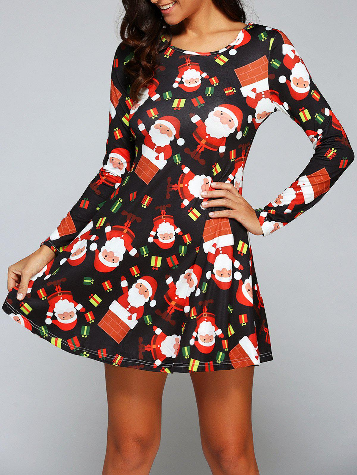 Long Sleeve Gift Print Xmas Swing DressWOMEN<br><br>Size: XL; Color: BLACK; Style: Casual; Material: Polyester; Silhouette: A-Line; Neckline: Round Collar; Dresses Length: Mini; Sleeve Length: Long Sleeves; Pattern Type: Print; With Belt: No; Season: Fall,Winter; Weight: 0.300kg; Package Contents: 1 x Dress;