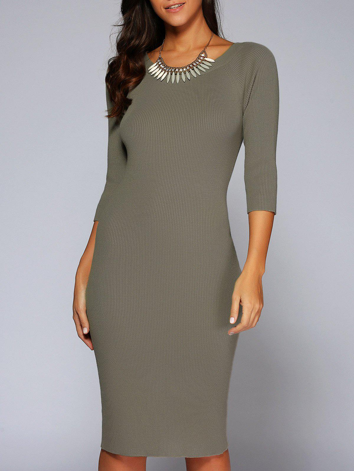 Best Concise 3/4 Sleeve Close-Fitting Knit Dress