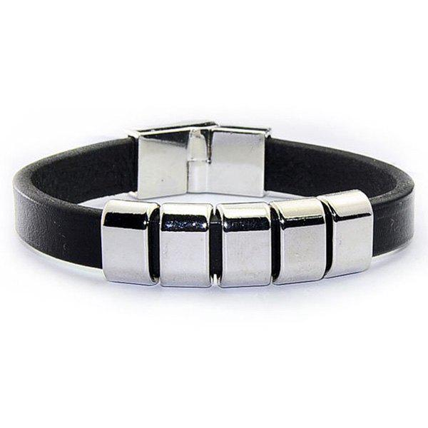 Faux Leather Ring Charm BraceletJEWELRY<br><br>Color: BLACK; Item Type: Charm Bracelet; Gender: For Men; Chain Type: Leather Chain; Style: Punk; Shape/Pattern: Geometric; Weight: 0.031kg; Package Contents: 1 x Bracelet;