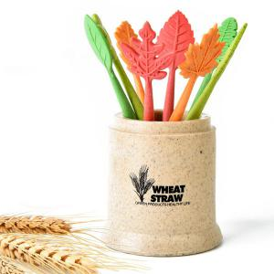 8Pcs Ecofriendly Natural Wheat Straw Leaves Fruit Fork Set