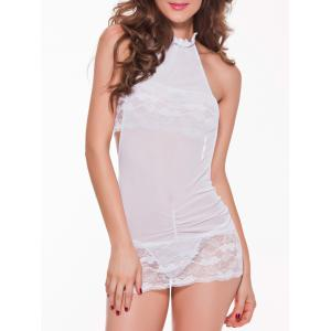 Mesh Laciness Ruched Backless Babydoll