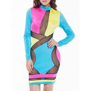 Mesh Panel Long Sleeve Color Block Club Dress