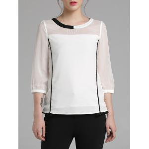 3/4 Sleeve Color Block Chiffon Blouse