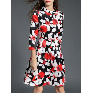 Fitting Floral Shirt Dress - Red - M