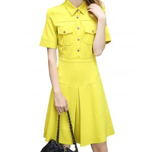A Line Double Pocket Polo Shirt Dress