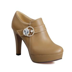 Platform Rhinestones Zipper Pumps - Dark Apricot - 39