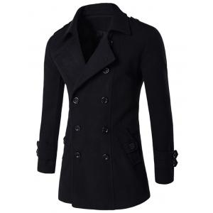 Slit Back Epaulet Design Long Sleeve Peacoat - Black - M