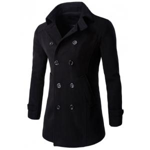 Half Back Belt Long Sleeve Button Cuff Peacoat - Black - L