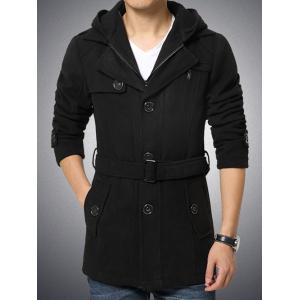 Button Embellished Zippered Hooded Belted Coat