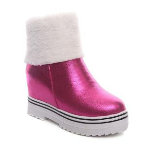 PU Leather Zipper Snow Boots - Rose Madder - 43