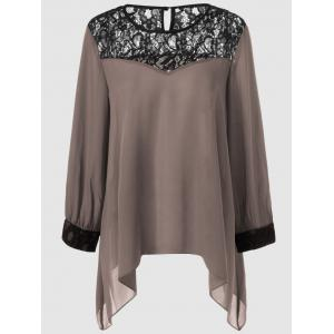 Plus Size Lace Splicing Asymmetrical Blouse - Khaki - 5xl