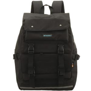 Large Buckle Straps Backpack - Black