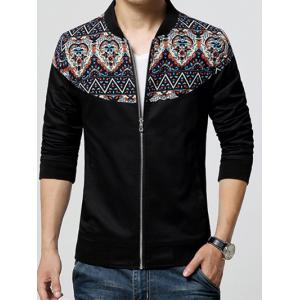 Stand Collar Ethnic Style Print Rib Spliced Zip-Up Jacket - Black - M
