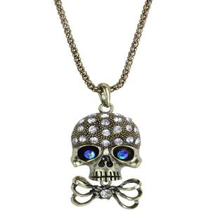 Carved Rhinestone Bowknot Skull Necklace