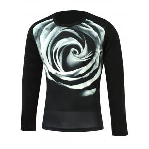 3D Flower Print Round Neck Long Sleeve T-Shirt