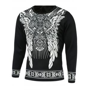 Ornate Print Round Neck Long Sleeve T-Shirt