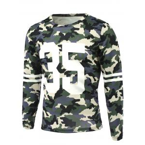 Camo Number Print Round Neck Long Sleeve T-Shirt